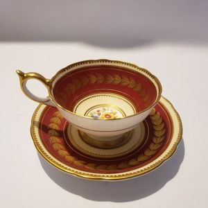 Aynsley Red gold Floral Tea cup and saucer